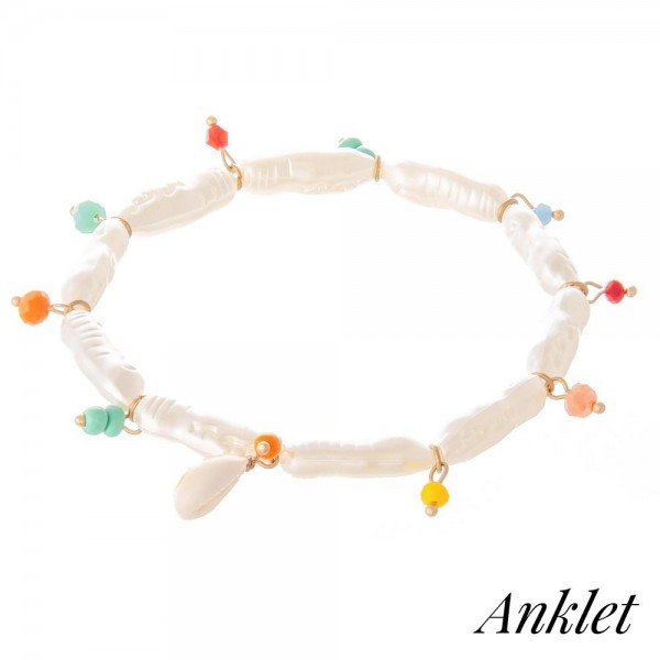 "Faux Freshwater Pearl Stretch Anklet Featuring Multicolor & Puka Shell Accents.  - Approximately 4"" in diameter - Fits up to an 8"" ankle"