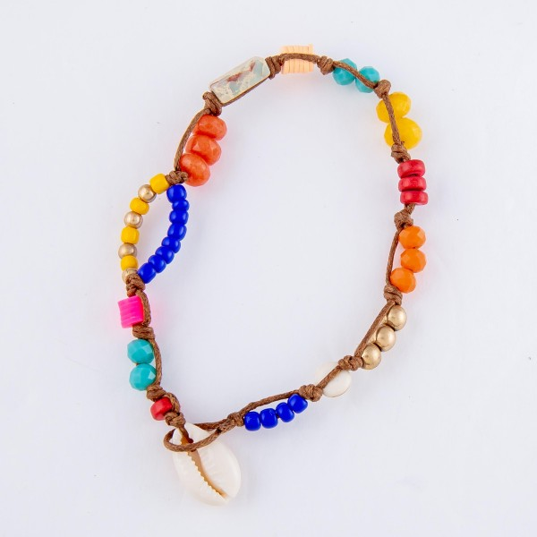 "Multi-Beaded Puka Shell Cord Anklet.  - Approximately 4"" in diameter - Fits up to an 8"" ankle"