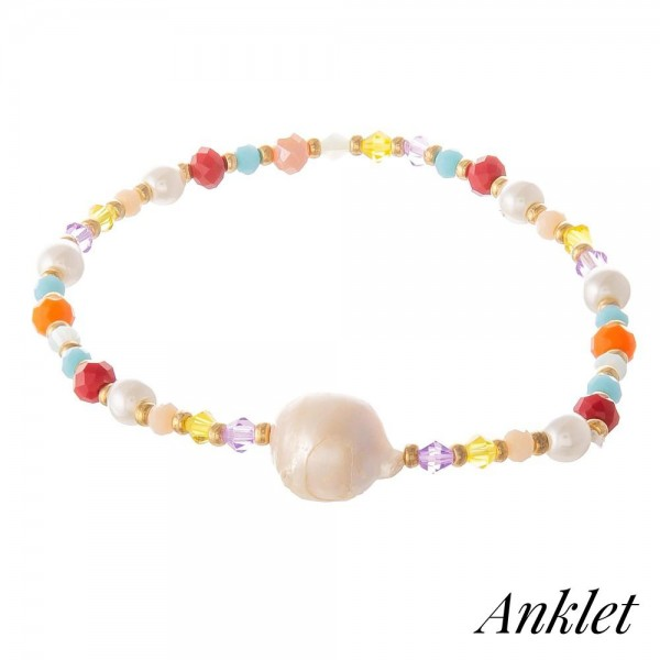 """Multicolor Pearl Beaded Stretch Anklet.  - Approximately 4"""" in diameter - Fits up to an 8"""" ankle"""