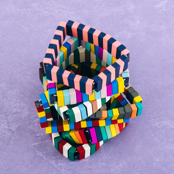 """Coated lego color block stretch bracelet.  - Approximately 3"""" in diameter unstretched - Fits up to a 7"""" wrist"""