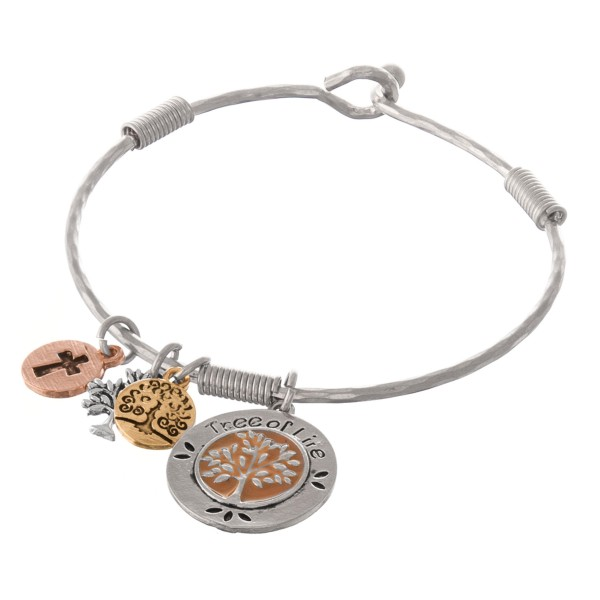 """Multi metal tone Tree of Life charm bangle bracelet with enamel details.  - Hook closure - Approximately 2.5"""" in diameter - Fits up to a 5"""" wrist"""