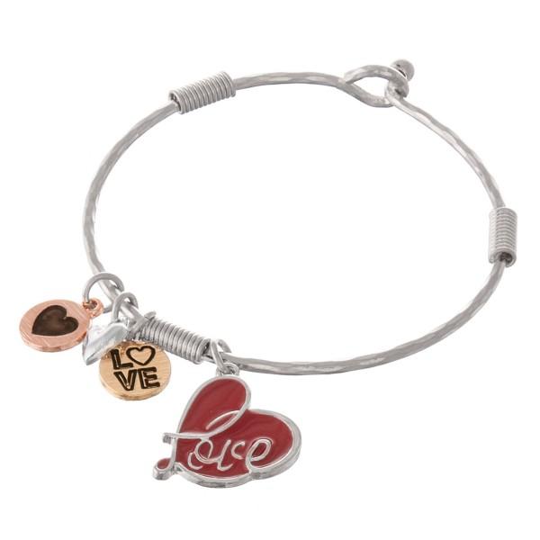 Wholesale multi metal enamel heart charm bangle bracelet Hook closure diameter F