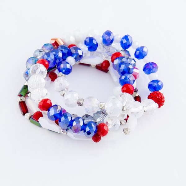 "Red, White, Blue Multi Semi Precious Beaded Stretch Bracelet Set.  - 5 pcs per set - Approximately 3"" in diameter - Fits up to a 7"" wrist"