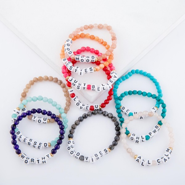 """Natural Stone Faceted Beaded """"I Am Blessed"""" Letter Block Stretch Bracelet.  - Approximately 3"""" in diameter unstretched - Fits up to a 7"""" wrist"""