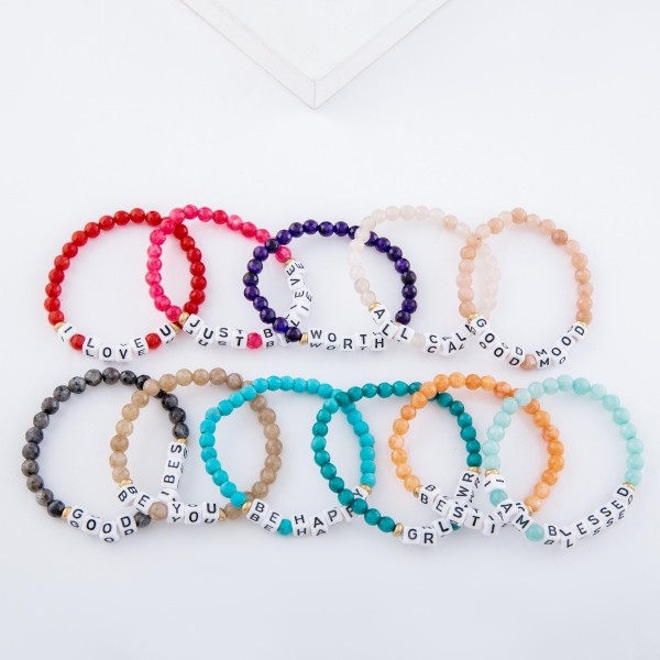 """Natural Stone Faceted Beaded """"Good Vibes"""" Letter Block Stretch Bracelet.  - Approximately 3"""" in diameter unstretched - Fits up to a 7"""" wrist"""