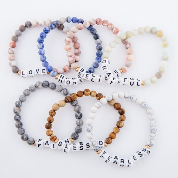 """Matte Natural Stone Beaded """"Faith"""" White Letter Block Stretch Bracelet.  - Approximately 3"""" in diameter unstretched - Fits up to a 7"""" wrist"""