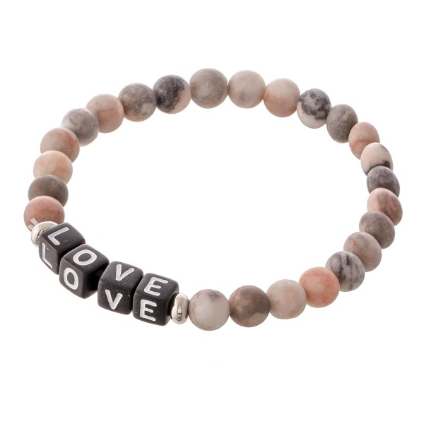 "Matte Natural Stone Beaded ""Love"" Black Letter Block Stretch Bracelet.  - Approximately 3"" in diameter unstretched - Fits up to a 7"" wrist"