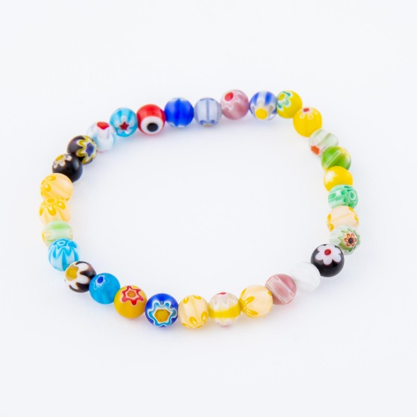 """Multicolor Semi Precious Flower Beaded Stretch Bracelet.  - Approximately 3"""" in diameter - Fits up to a 7"""" wrist"""