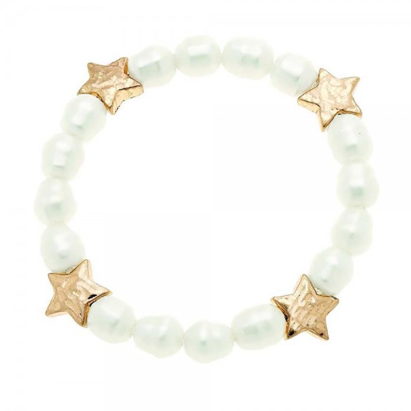 "Ivory Pearl Beaded Heart Stretch Bracelet.  - Approximately 3"" in diameter unstretched - Fits up to a 7"" wrist"