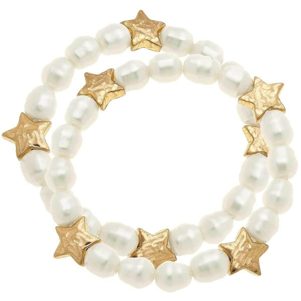 Ivory Pearl Beaded Star Stretch Bracelet.