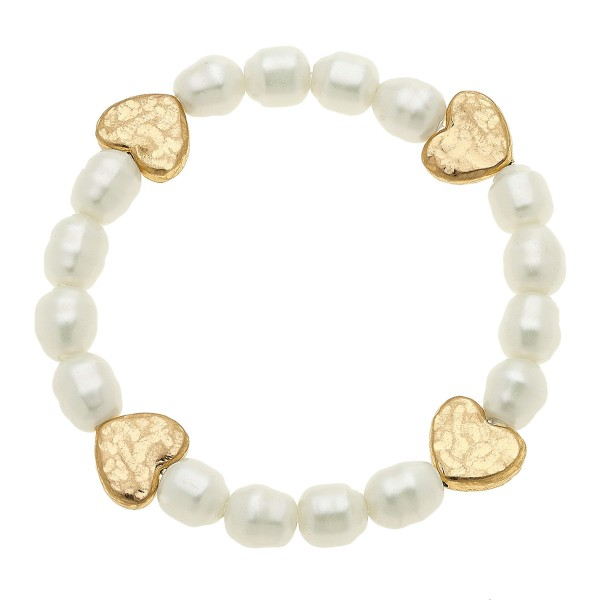 Wholesale ivory Pearl Beaded Stretch Bracelet Gold Heart Accents diameter Fits u