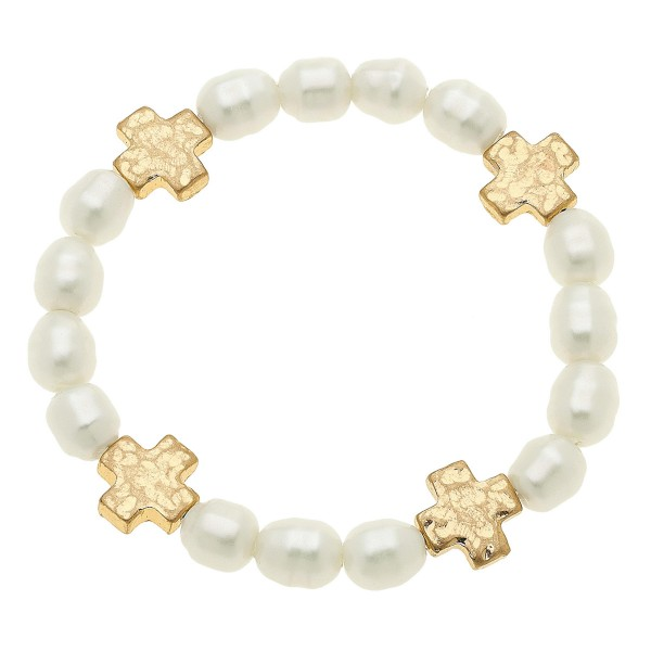 "Ivory Pearl Beaded Cross Stretch Bracelet.  - Approximately 3"" in diameter unstretched - Fits up to a 7"" wrist"