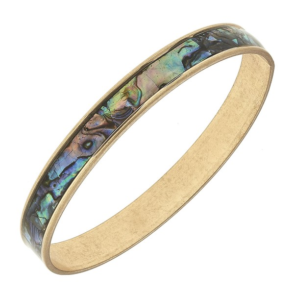 """Gold Abalone Coated Bangle Bracelet.  - Approximately 3"""" in diameter - Fits up to a 6"""" wrist"""
