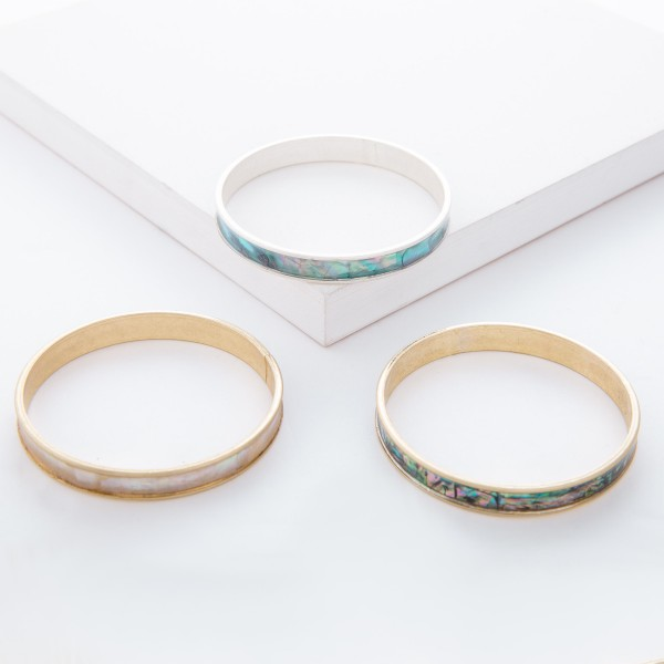 """Gold Mother of Pearl Coated Bangle Bracelet.  - Approximately 3"""" in diameter - Fits up to a 6"""" wrist"""