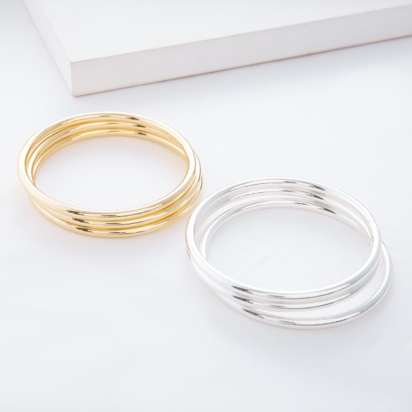"Silver Metal Bangle Bracelet Set.  - 3pcs/set - Approximately 3"" in diameter - Fits up to a 6"" wrist"