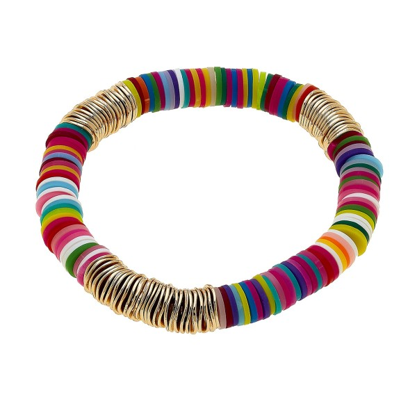 "Multicolor Polymer Clay Spacer Beaded Stretch Bracelet with Gold Spacer Details.  - Approximately 3"" in diameter - Fits up to a 7"" wrist"