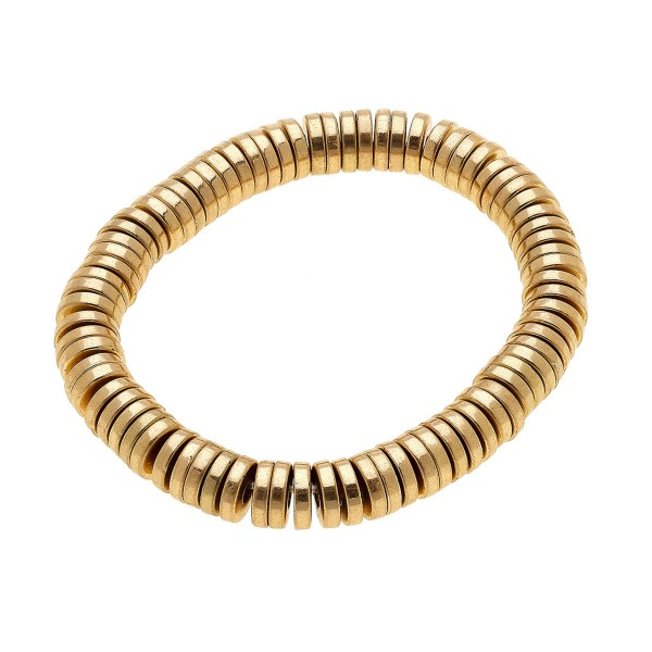 """Gold Tone Spacer Beaded Stretch Bracelet.  - Approximately 3"""" in diameter - Fits up to a 7"""" wrist"""