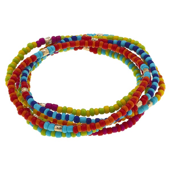 "Multicolor Seed Beaded Stretch Bracelet Set with Gold Accents.  - 6pcs/set - Approximately 3"" in diameter unstretched - Fits up to a 7"" wrist"