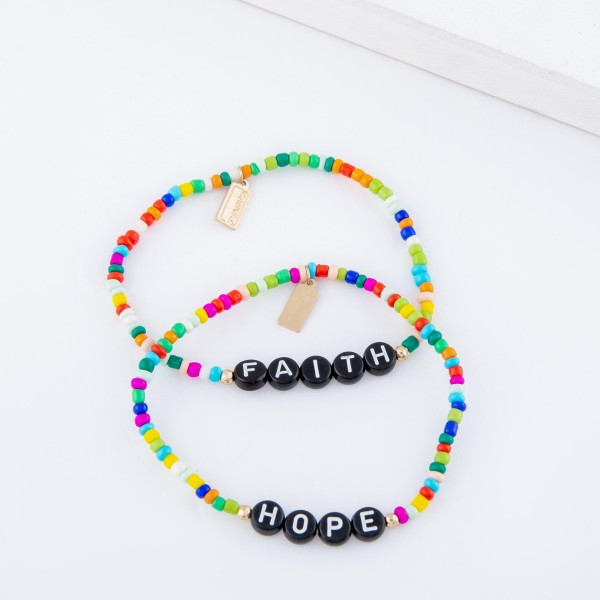 "Multicolor Seed Beaded ""Faith"" Black Letter Block Stretch Bracelet.  - Approximately 3"" in diameter unstretched - Fits up to a 7"" wrist"
