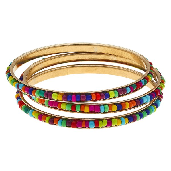 "Multicolor seed beaded stackable bangle bracelet set.  - 3pcs/set - Approximately 3"" in diameter - Fits up to a 6"" wrist"