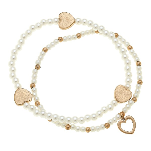 "Worn Gold Pearl Beaded Heart Stretch Bracelet Set.  - 2pcs/set - Approximately 3"" in diameter unstretched - Fits up to a 7"" wrist"