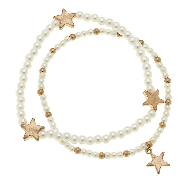 "Worn Gold Pearl Beaded Star Stretch Bracelet Set.  - 2pcs/set - Approximately 3"" in diameter unstretched - Fits up to a 7"" wrist"