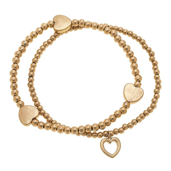 "Worn Gold Sphere Beaded Heart Stretch Bracelet Set.  - 2pcs/set - Approximately 3"" in diameter unstretched - Fits up to a 7"" wrist"