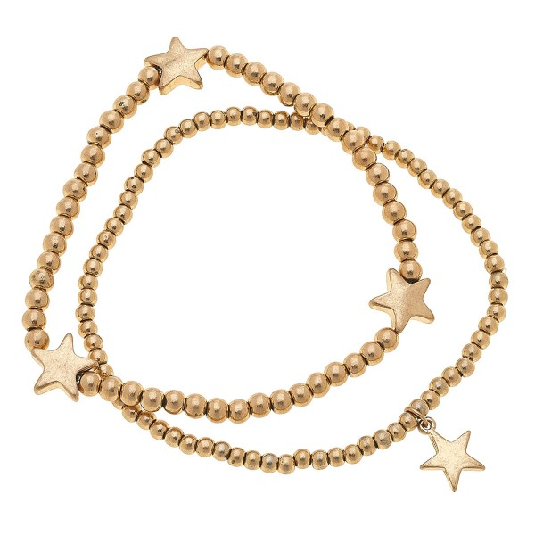 "Worn Gold Sphere Beaded Star Stretch Bracelet Set.  - 2pcs/set - Approximately 3"" in diameter unstretched - Fits up to a 7"" wrist"