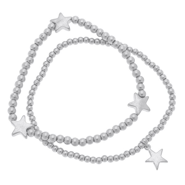 "Worn Silver Sphere Beaded Star Stretch Bracelet Set.  - 2pcs/set - Approximately 3"" in diameter unstretched - Fits up to a 7"" wrist"