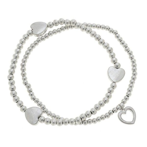 "Worn Silver Sphere Beaded Heart Stretch Bracelet Set.  - 2pcs/set - Approximately 3"" in diameter unstretched - Fits up to a 7"" wrist"
