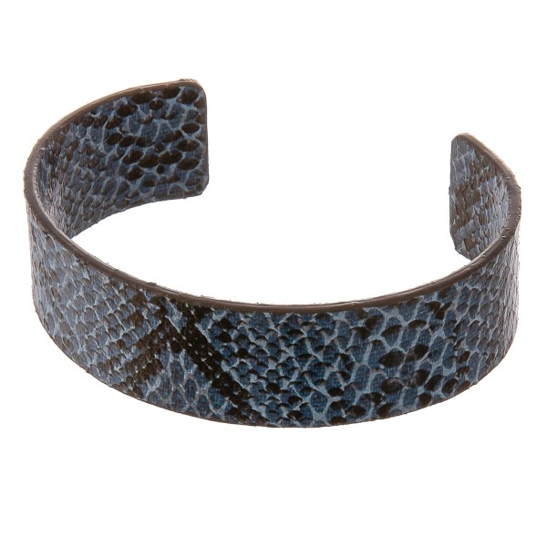 """Faux leather open ended snakeskin cuff bracelet.  - Approximately 3"""" in diameter - Fits up to a 6"""" wrist"""