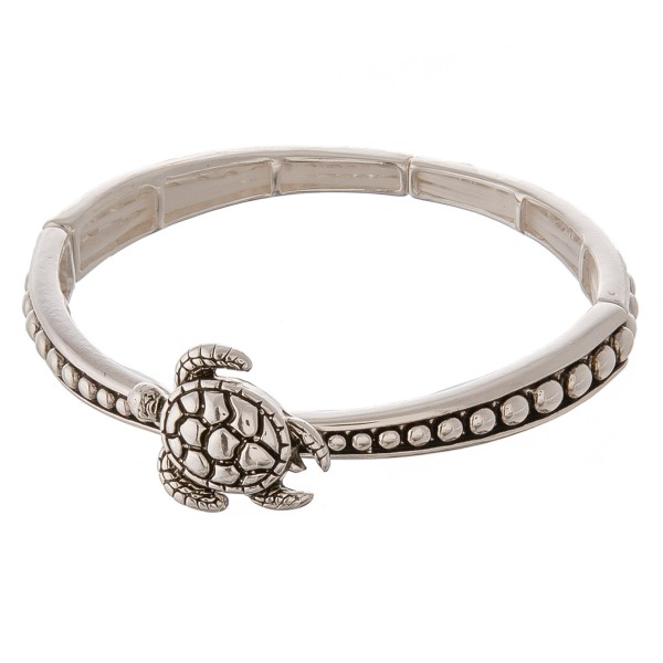 """Sea life tailored sea turtle metal stretch bracelet.  - Approximately 3"""" in diameter unstretched - Fits up to a 7"""" wrist"""
