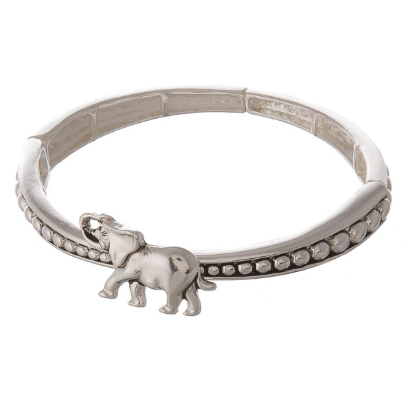 Wholesale antique silver elephant caviar metal stretch bracelet diameter unstret