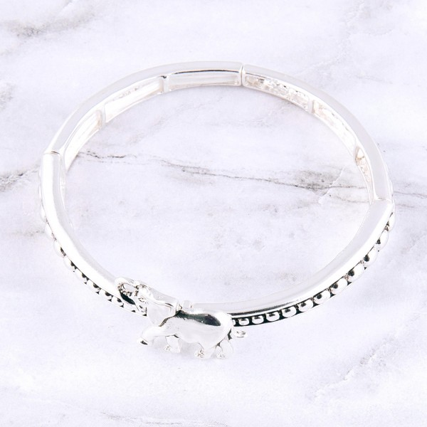"""Antique silver elephant caviar metal stretch bracelet.  - Approximately 3"""" in diameter unstretched - Fits up to a 7"""" wrist"""