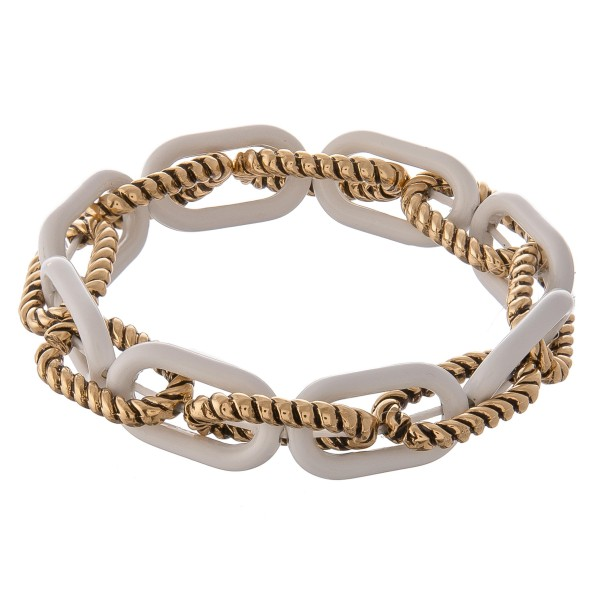 """Chunky tailored white epoxy toggle linked stretch bracelet.  - Approximately 3"""" in diameter unstretched  - Fits up to a 7"""" wrist"""
