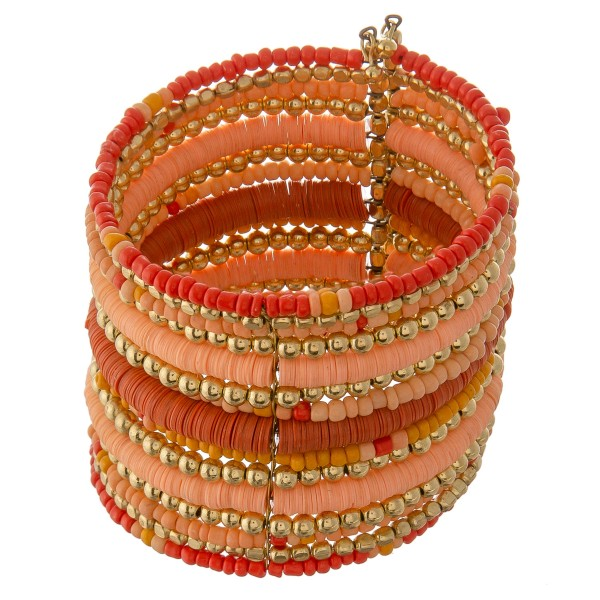 "Multi beaded bohemian bangle cuff bracelet.  - Approximately 2.5"" in diameter unstretched - 2"" in width - Fits up to a 7"" wrist"