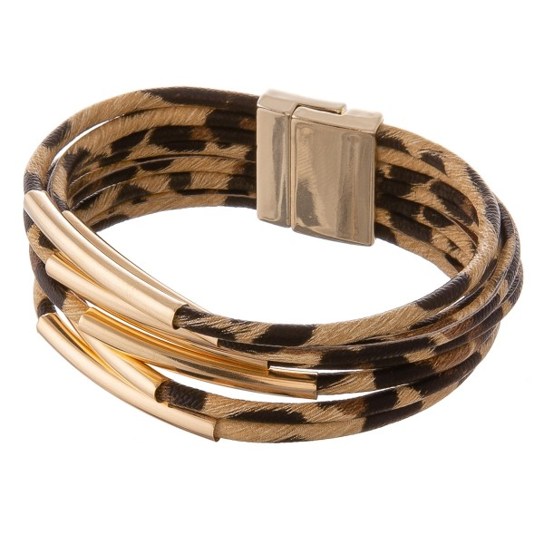"Faux leather multi strand leopard print magnetic closure with gold accents.  - Magnetic closure - Approximately 3"" in diameter - Fits up to a 6"" wrist"
