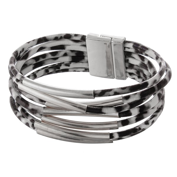 "Faux leather multi strand leopard print magnetic bracelet with silver accents.  - Magnetic closure - Approximately 3"" in diameter - Fits up to a 6"" wrist"