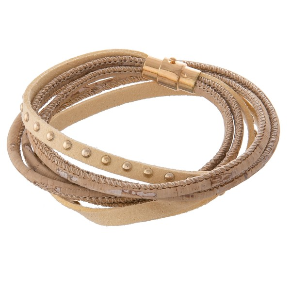 """Faux leather multi strand cork wrapped wrap bracelet with magnetic closure.  - Approximately 3"""" in diameter  - Fits up to a 6"""" wrist"""