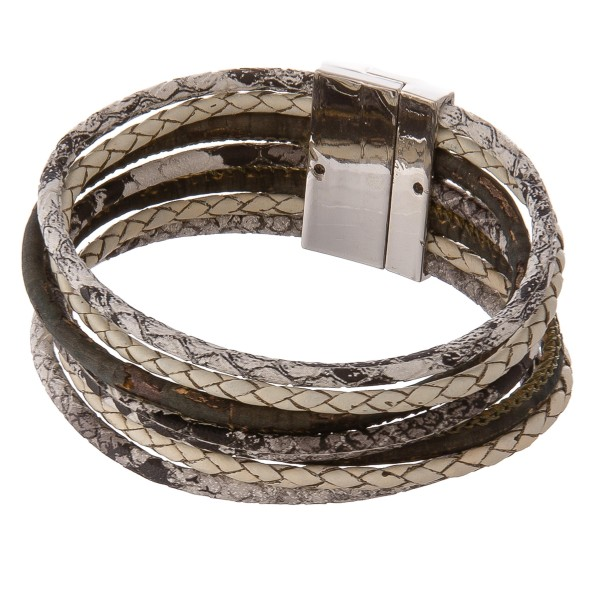 "Multi strand cork wrapped snakeskin magnetic bracelet.  - Magnetic closure - Approximately 3"" in diameter - Fits up to a 6"" wrist"