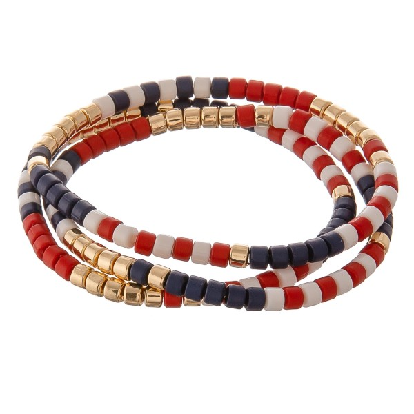 "Tube beaded stretch bracelet of three.  - Approximately 3"" in diameter unstretched  - Fits up to a 7"" wrist"