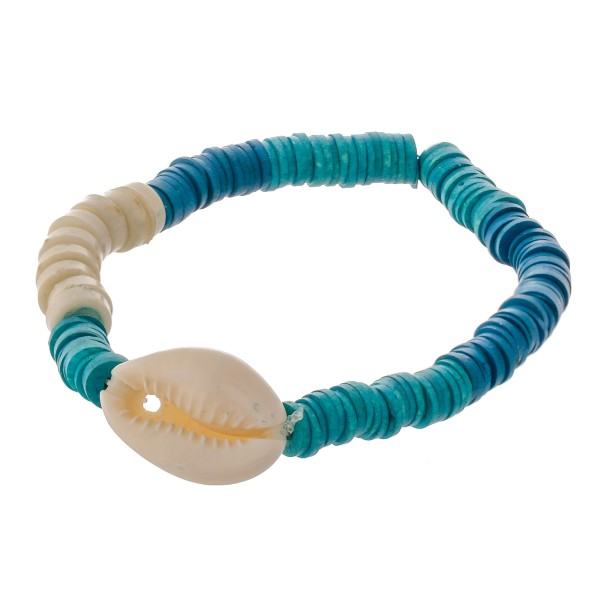"""Polymer Clay Heishi spacer beaded puka shell stretch bracelet.  - Approximately 3"""" in diameter unstretched - Fits up to a 7"""" wrist"""