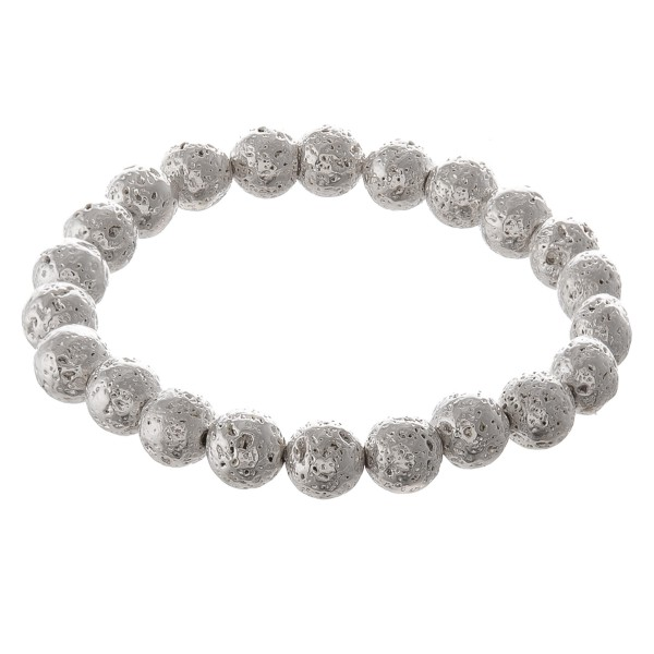 "Metal lava rock beaded stretch bracelet.  - Approximately 3"" in diameter - Fits up to a 7"" wrist"
