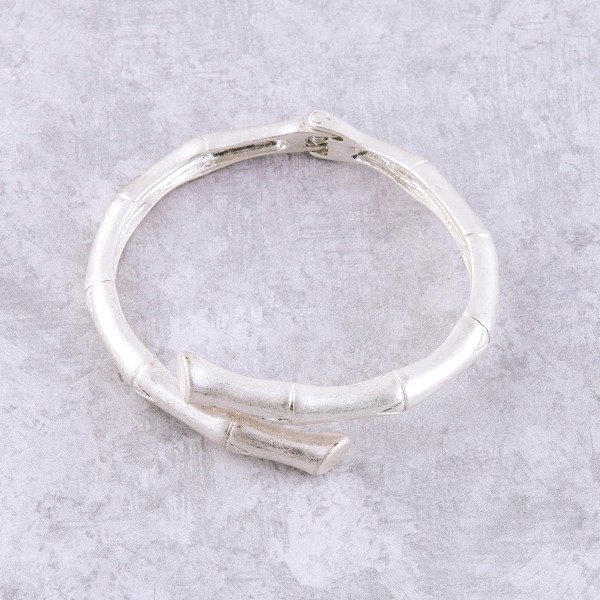 "Metal bamboo hinge bracelet.  - Approximately 3"" in diameter unstretched - Approximately 7"" wrist"