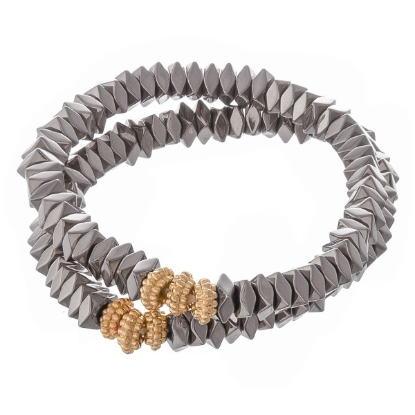 "Metal faceted beaded stretch bracelet set.  - 2pcs/set - Approximately 3"" in diameter unstretched - Fits up to a 7"" wrist"