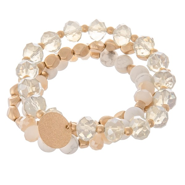 Wholesale semi precious faceted beaded charm stretch bracelet set pcs pack diame