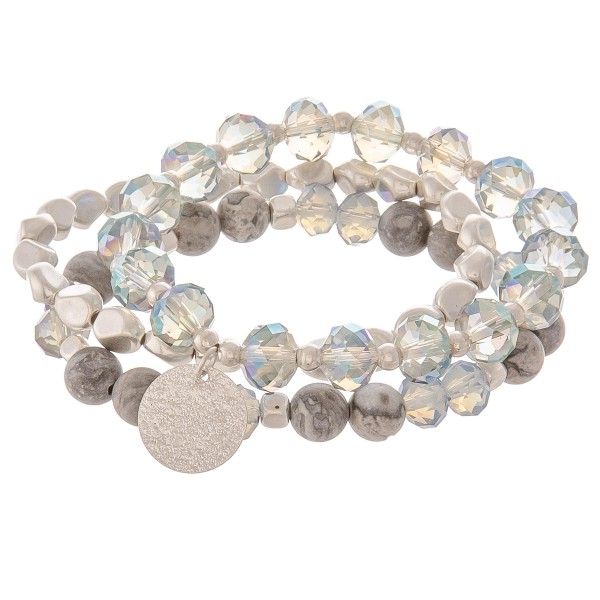 "Semi precious faceted beaded charm stretch bracelet set.  - 3pcs/pack - Approximately 3"" in diameter unstretched - Fits up to a 7"" wrist"
