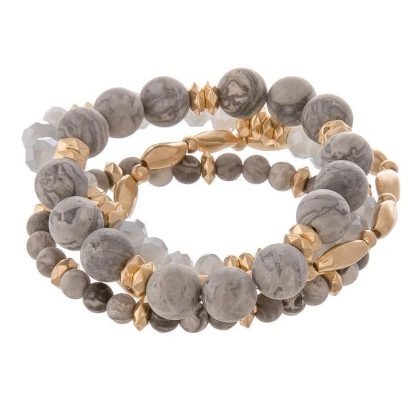 Wholesale semi precious gold metal beaded stretch bracelet set pcs pack diameter