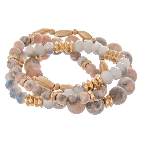 "Semi precious gold metal beaded stretch bracelet set.  - 4pcs/pack - Approximately 3"" in diameter unstretched - Fits up to a 7"" wrist"
