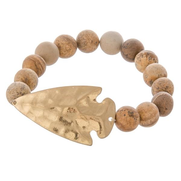 Wholesale semi precious beaded hammered arrow stretch bracelet diameter Fits up